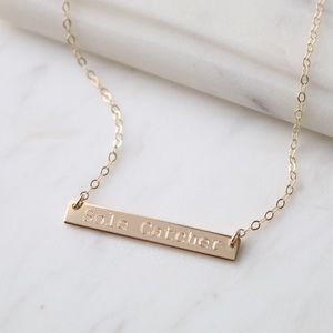 Jewelry - 14k Gold Filled Custom Engraved Bar Necklace